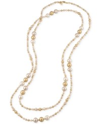 Carolee Gold Tone Imitation Multicolor Pearl Long Rope Necklace