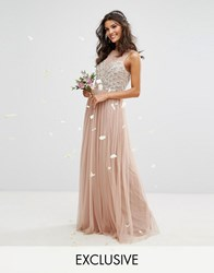 Maya Embellished Sweetheart Maxi Dress With Tulle Skirt Mink Brown