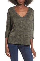 Leith Women's Stretch Knit High Low Top Olive Sarma Heather
