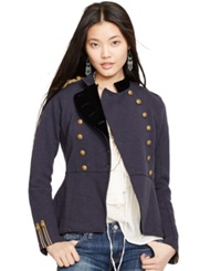 Denim And Supply Ralph Lauren Peplum Military Jacket Classic Navy