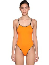 Dsquared Logo Print Lycra One Piece Swimsuit Orange