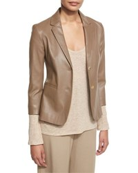 The Row Nolbon Leather Two Button Jacket Khaki Port