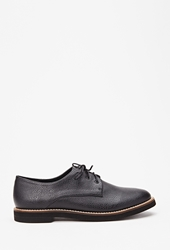 Forever 21 Textured Faux Leather Oxfords Black