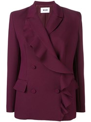 Msgm Ruffle Wrap Coat Purple