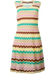 M Missoni Zig Zag Knitted Dress Women Cotton Polyamide Polyester Metallic Grey Fibre 38