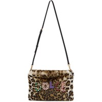 Dolce And Gabbana Beige Faux Fur Leopard Cleo Pouch