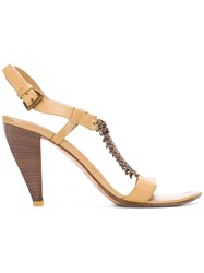 Prada Vintage Chain Embellished Sandals Nude And Neutrals