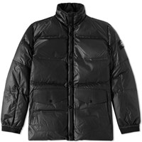 Stone Island Leather Down Jacket Black