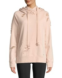 Alo Yoga Ripped French Terry Pullover Hoodie Sweatshirt Light Pink