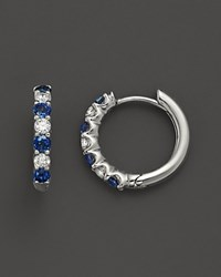 Bloomingdale's Diamond And Sapphire Hoop Earrings In 14K White Gold No Color