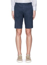 Canali Linen Cotton Drawstring Shorts Blue
