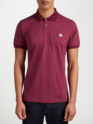 Pretty Green Polka Dot Polo Shirt Burgundy