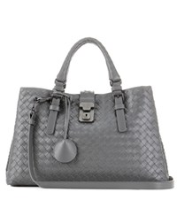 Bottega Veneta Small Roma Intrecciato Leather Tote Grey