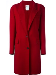 Dkny Single Breasted Coat Red