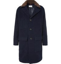 Brunello Cucinelli Shearling Trimmed Virgin Wool And Cashmere Blend Coat Navy