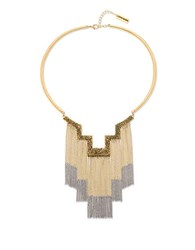 Steve Madden Textured Zigzag Station Cable Chain Fringe Necklace Two Tone