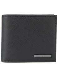 Armani Jeans Logo Plaque Billfold Wallet Leather Black