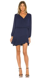 Krisa Long Sleeve Surplice Dress In Navy.