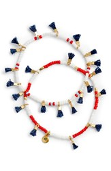 Madewell Two Pack Red White And Blue Beaded Tassel Bracelets Red White Blue
