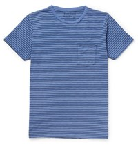 Hartford Striped Cotton Jersey T Shirt Blue