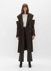 Martine Rose Cut Out Wool Overcoat Brown