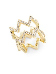 Saks Fifth Avenue White Stone Zig Zag Ring Goldtone