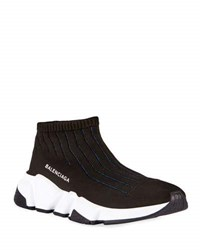 Balenciaga Knit Sock High Top Sneaker Black Blue Noir Bleu