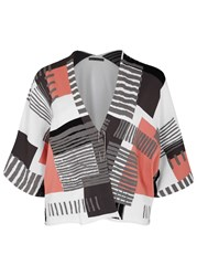 Crea Concept White Colour Block Jersey Cardigan Multicoloured