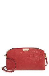 Burberry 'Small Chichester' Check Embossed Leather Crossbody Bag Military Red