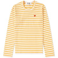 Comme Des Garcons Play Women's Little Red Heart Long Sleeve Striped Tee Yellow