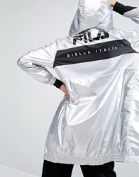 Fila Zip Through Metallic Hooded Jacket Silver