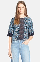 Women's Sea Embroidered Cotton Peasant Top Navy Blue Cream