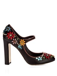 Dolce And Gabbana Floral Embellished Leather Pumps Black Multi