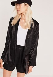 Missguided Premium Satin Double Breasted Blazer Black Black