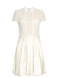 Burberry Short Sleeved Lace Dress White