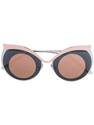 Boucheron Cat Eye Sunglasses Unisex Metal Other Brown