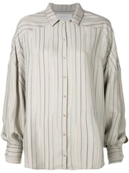 Esteban Cortazar Striped Pattern Loose Shirt Nude And Neutrals
