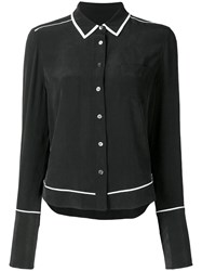Equipment Contrast Trim Long Sleeve Shirt Black
