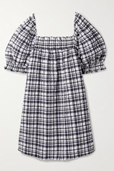 Solid And Striped Smocked Checked Seersucker Mini Dress Navy