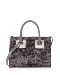 Charles Jourdan Niko 2 Floral Lace Satchel Bag Grey Flora