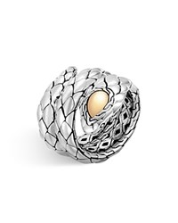 John Hardy 18K Yellow Gold And Sterling Silver Legends Cobra Double Coil Ring Silver Gold