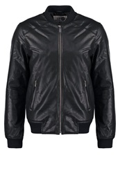 Solid Unwin Leather Jacket Black