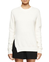 Proenza Schouler Ribbed Crewneck Long Sleeve Sweater Off White