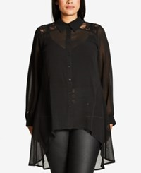 City Chic Trendy Plus Size Sheer Tunic Shirt Black