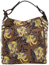 Jamin Puech Beaded Embroidered Shoulder Bag Brown