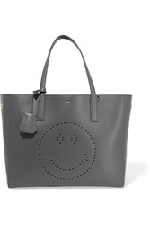 Anya Hindmarch Ebury Smiley Perforated Leather Tote Dark Gray