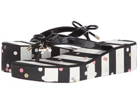 Kate Spade Rhett Black Black White Stripe Confetti Print Women's Shoes