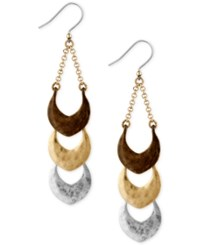 Lucky Brand Tri Tone Triple Drop Earrings Tri Tone