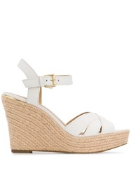 Michael Kors Collection Cross Strap Wedged Sandals White