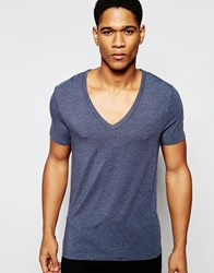 Asos Loungewear Muscle T Shirt With Deep V Neck In Navy Marl Navy Marl